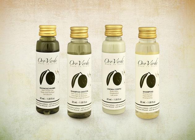 Linea cortesia all'olio d'oliva personalizzabile Detercom Professional